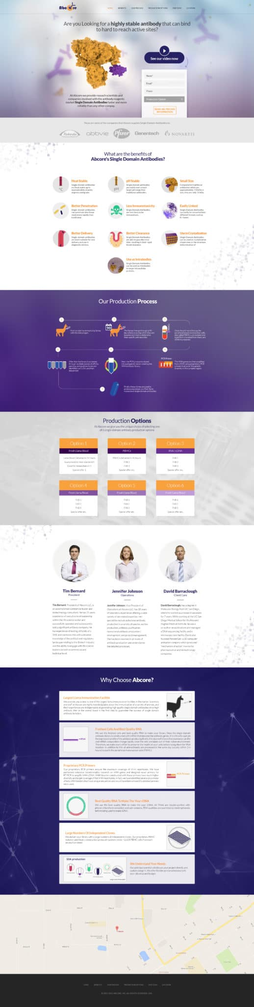 Abcore Landing Page